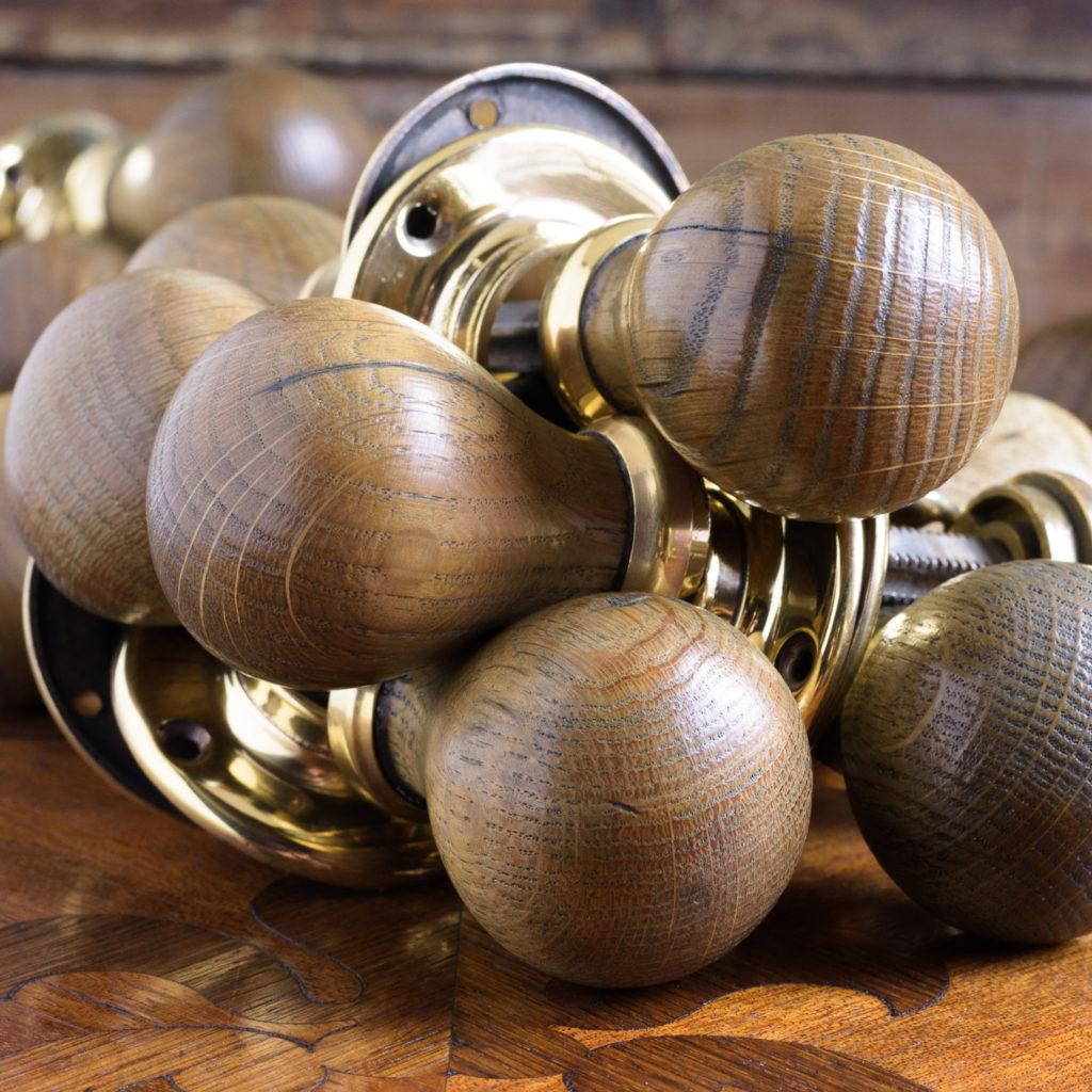 Turned oak and brass door handles,-112420
