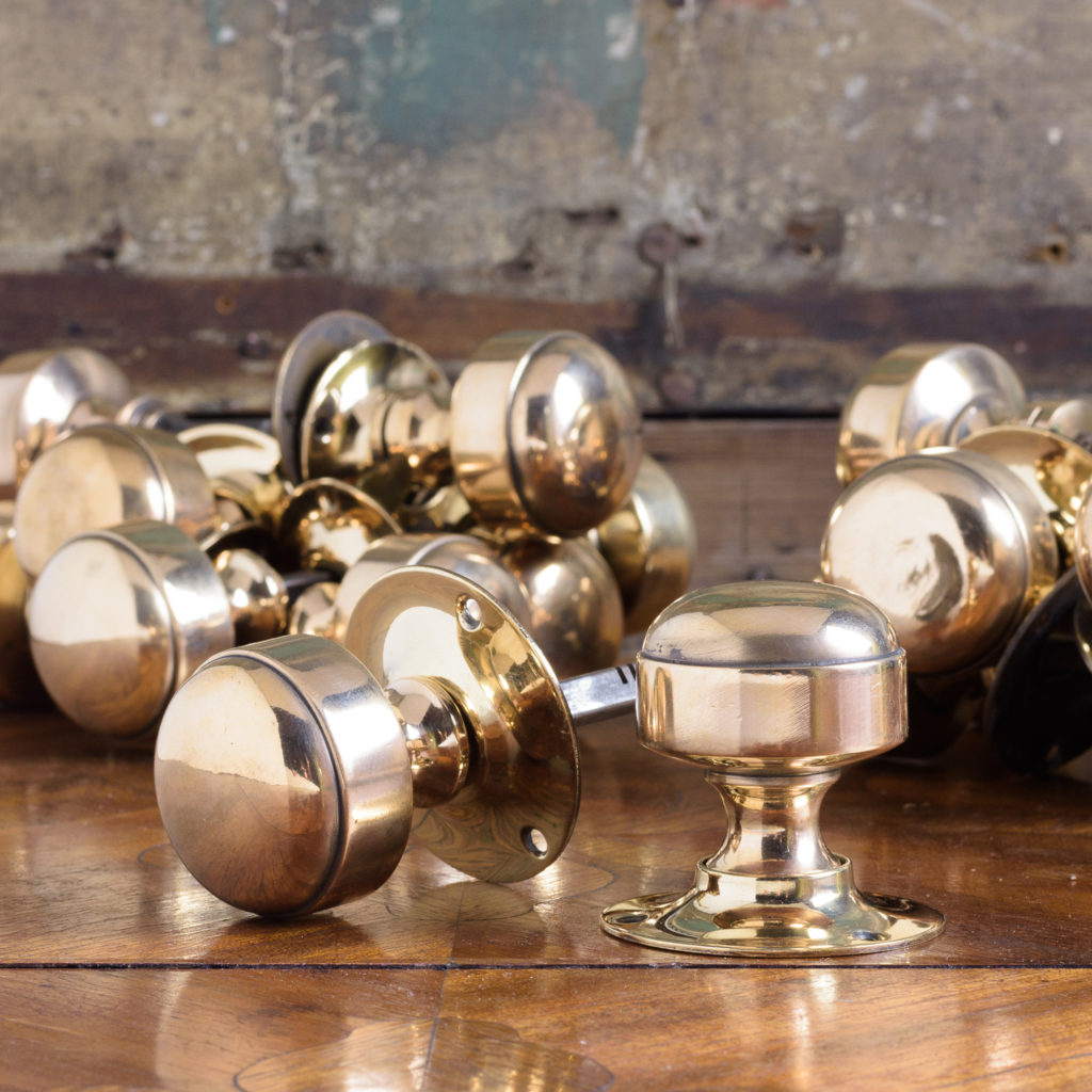 Gibbons of Wolverhampton rose brass door knobs,-0