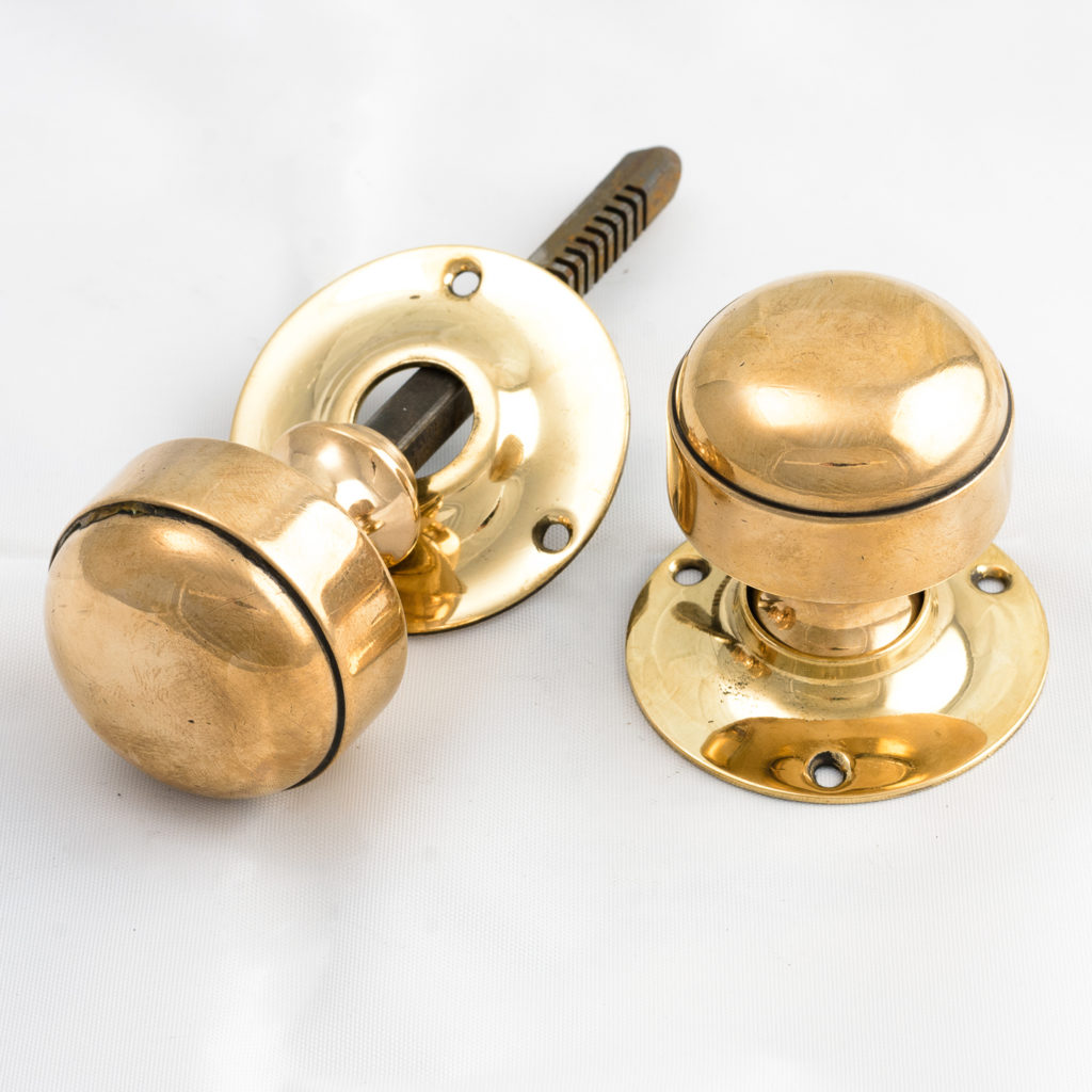 Gibbons of Wolverhampton rose brass door knobs,-112463