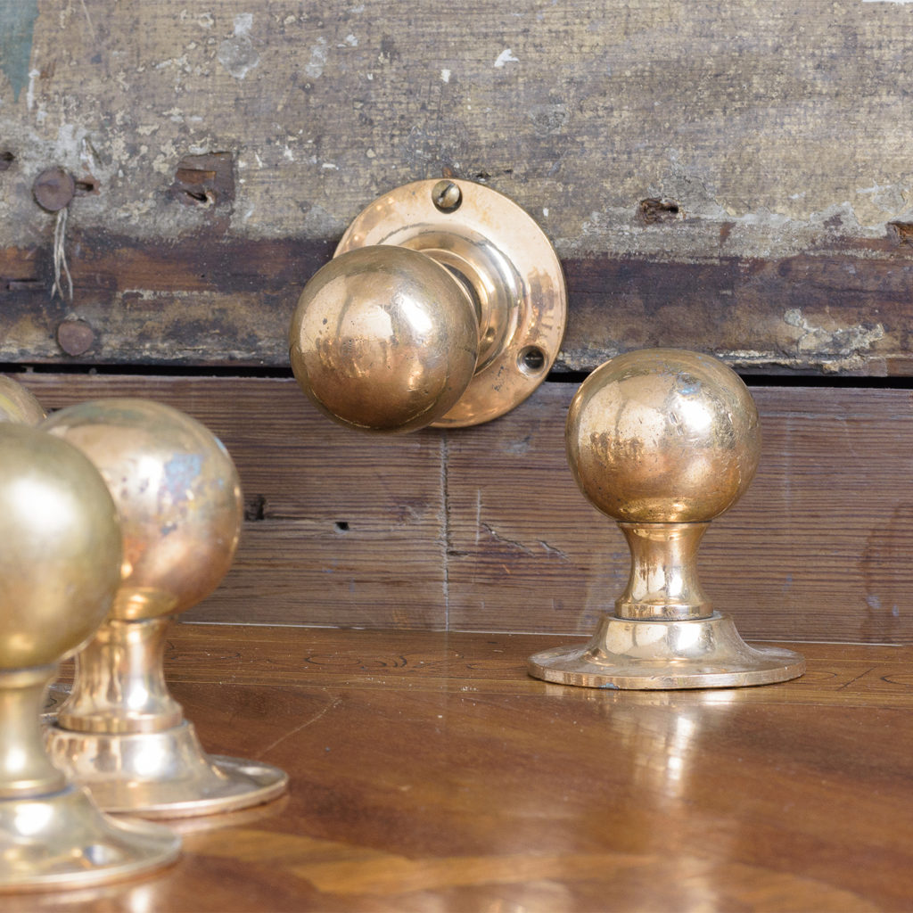 1920's rose brass door knobs,-0