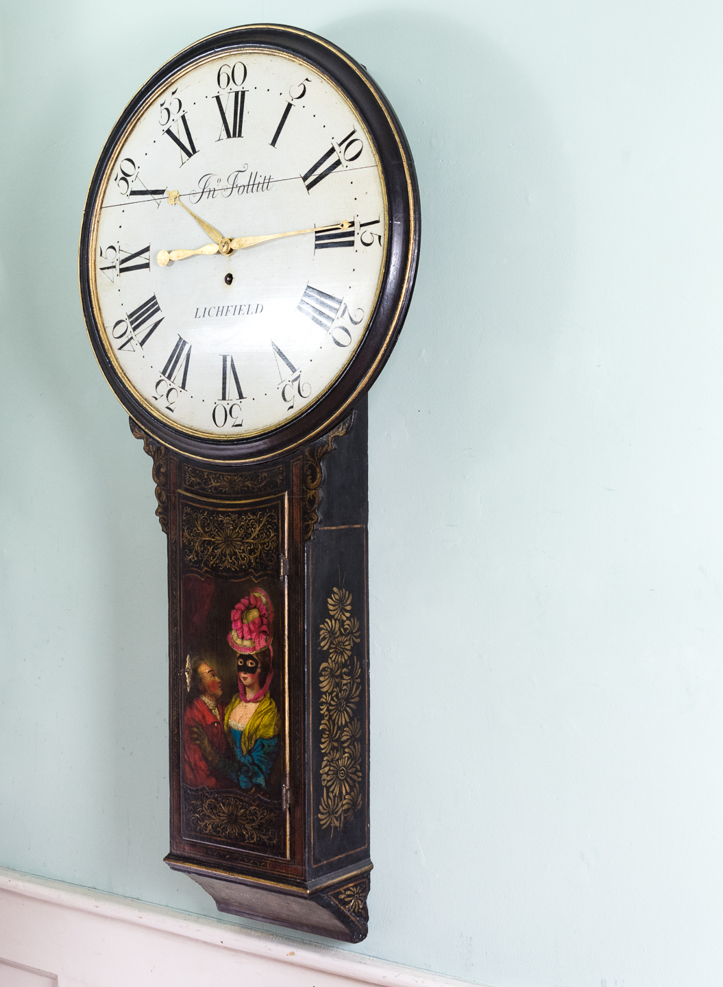 George III japanned tavern clock,-112715