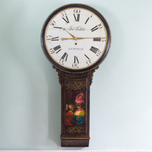 George III japanned tavern clock,-0