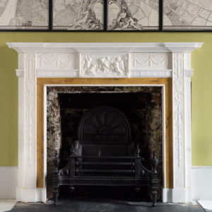 George III style statuary and sienna marble chimneypiece,-0