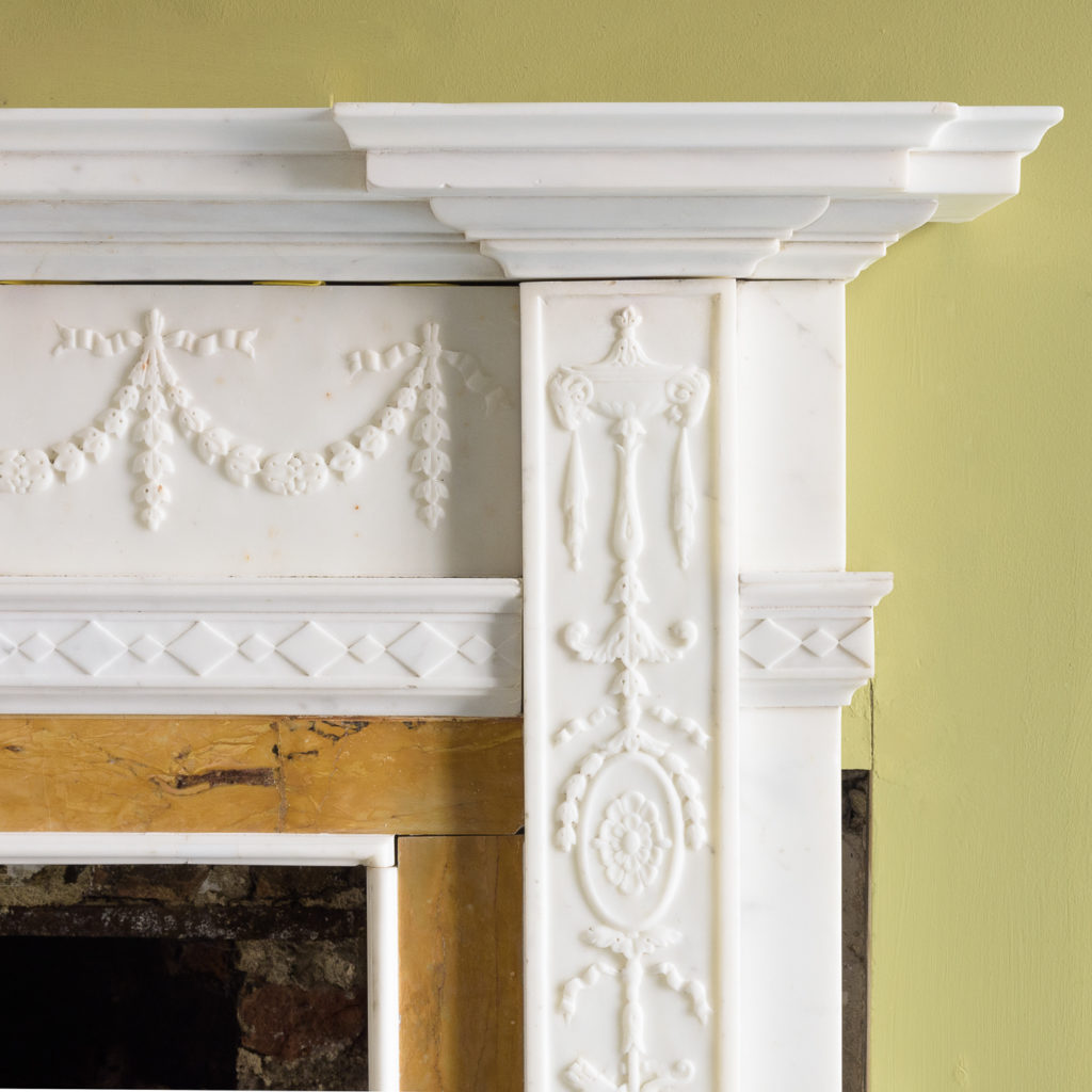 George III style statuary and sienna marble chimneypiece,-112742