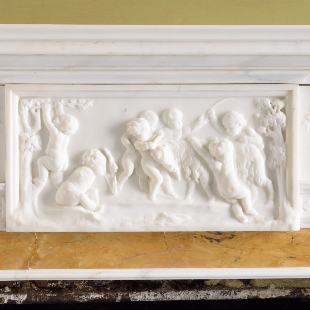 George III style statuary and sienna marble chimneypiece,-112736