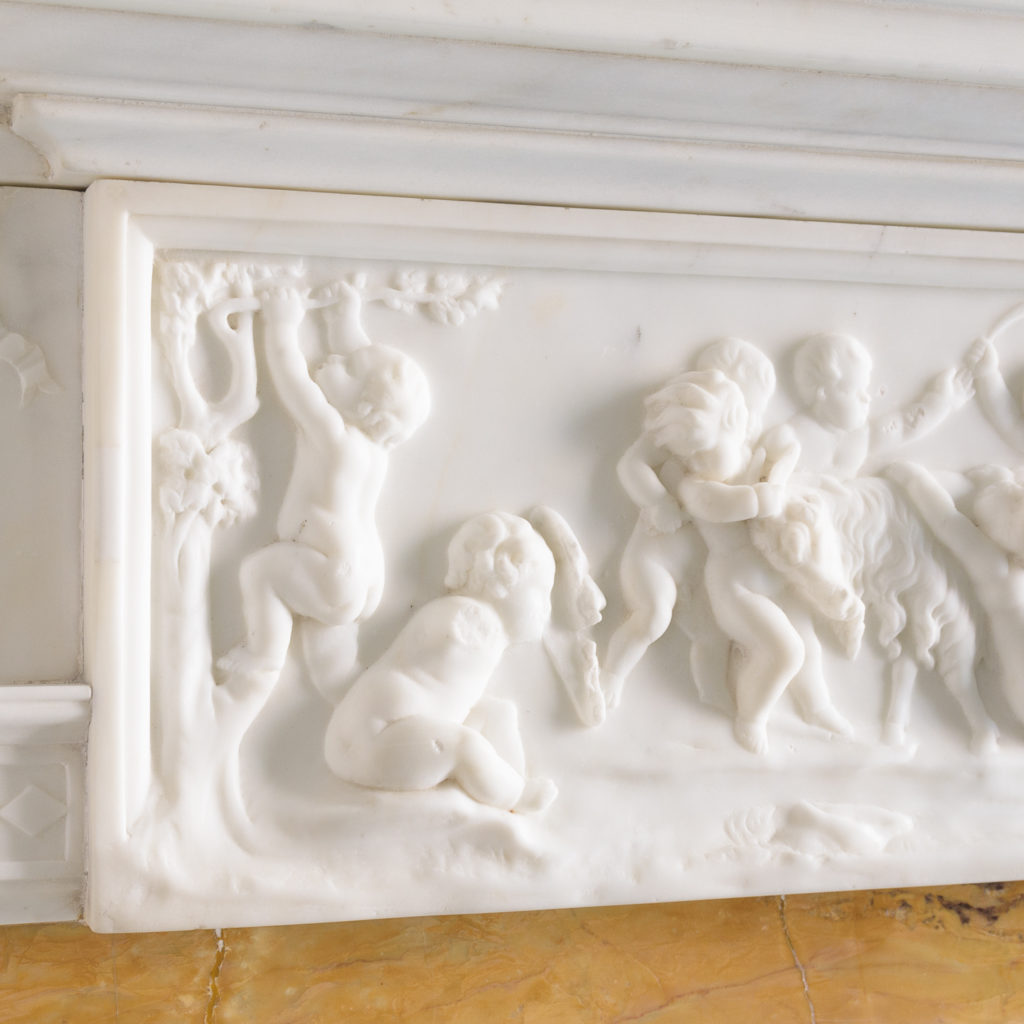 George III style statuary and sienna marble chimneypiece,-112738