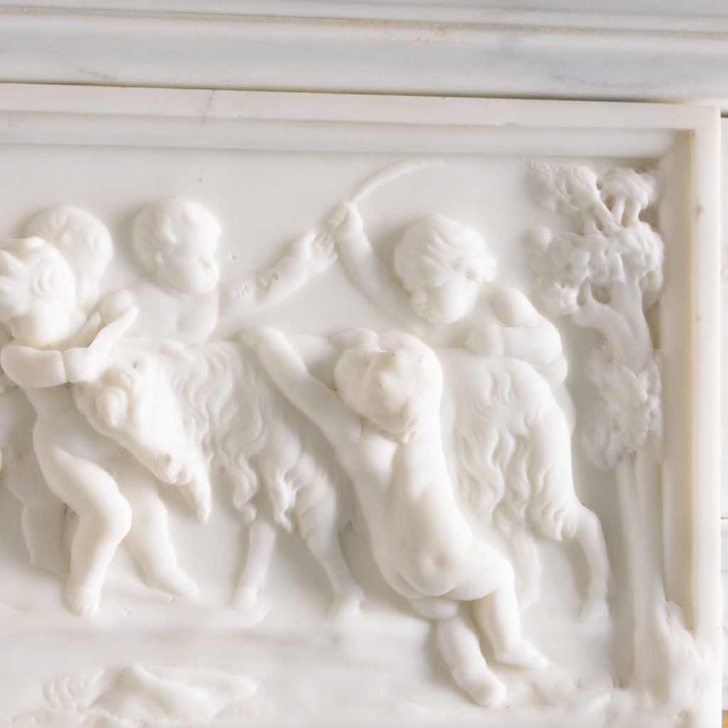 George III style statuary and sienna marble chimneypiece,-112741