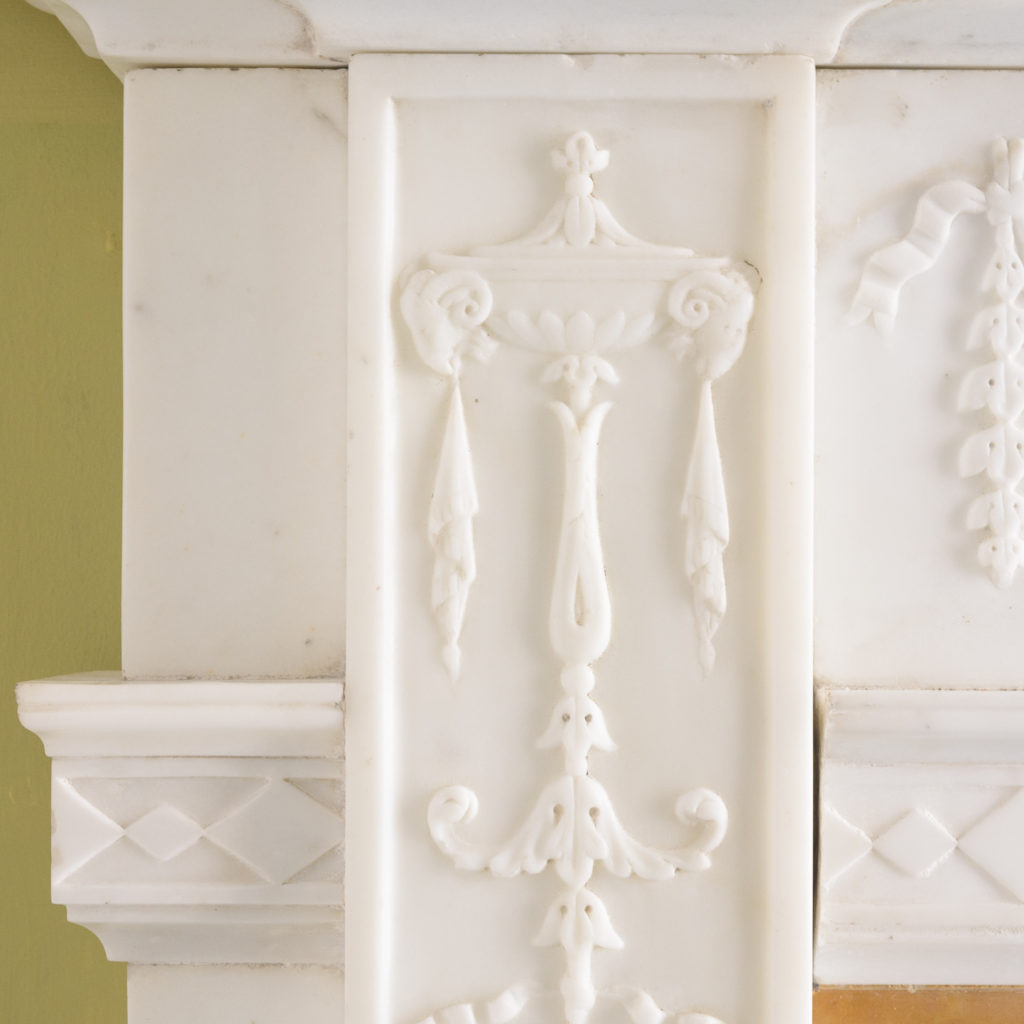 George III style statuary and sienna marble chimneypiece,-112746