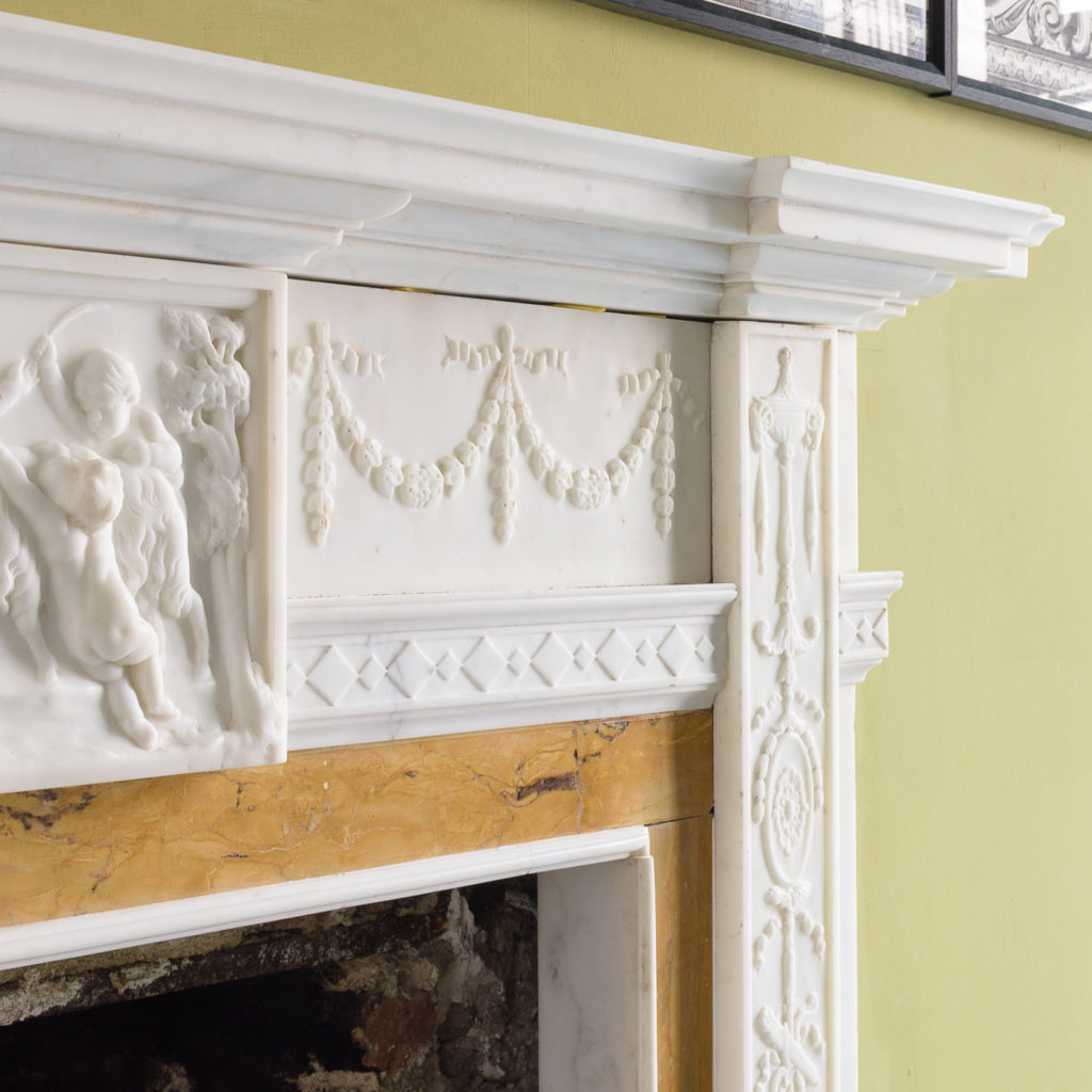 George III style statuary and sienna marble chimneypiece,-112743
