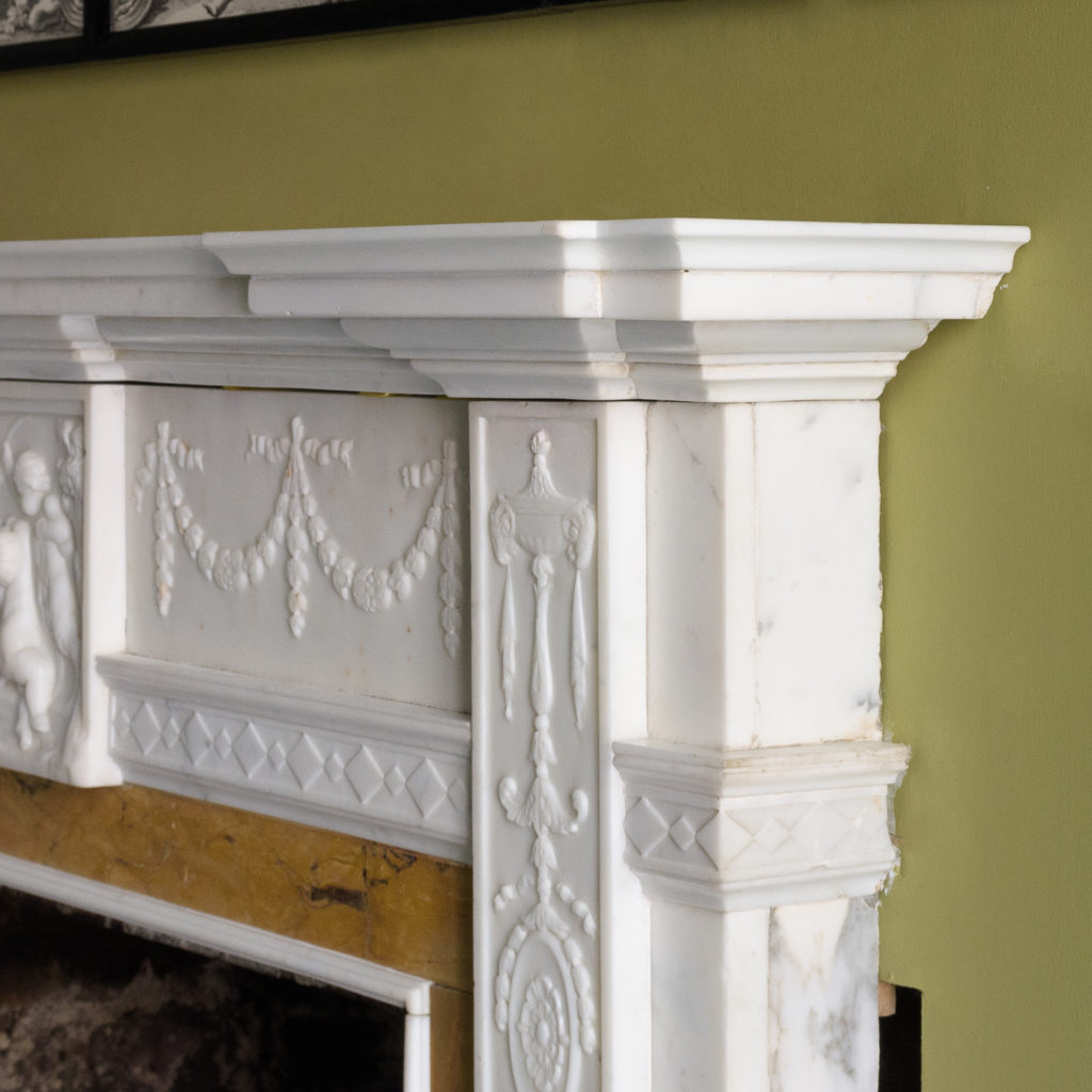 George III style statuary and sienna marble chimneypiece,-112737