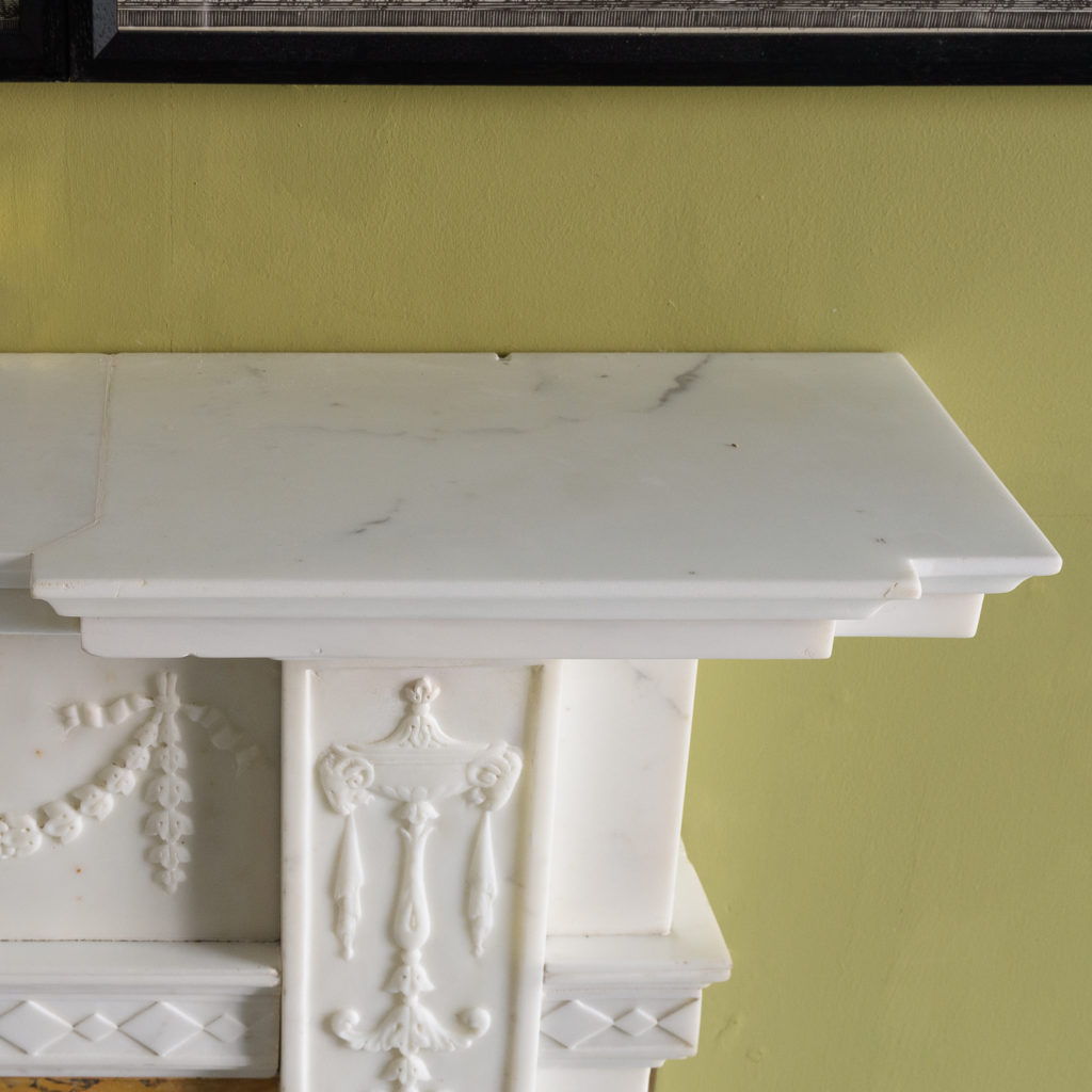 George III style statuary and sienna marble chimneypiece,-112733
