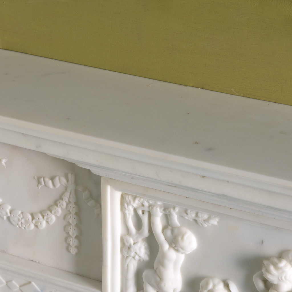 George III style statuary and sienna marble chimneypiece,-112739