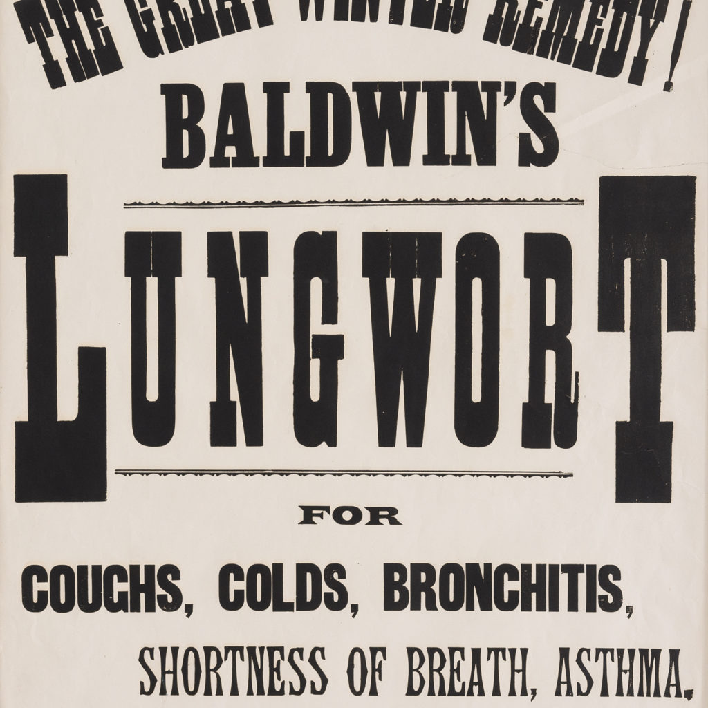 Original chemist shop advertising poster, Baldwin's Lungwort-112635