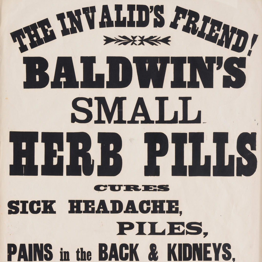 Original chemist shop advertising poster, Baldwin's Small Herb Pills-112640