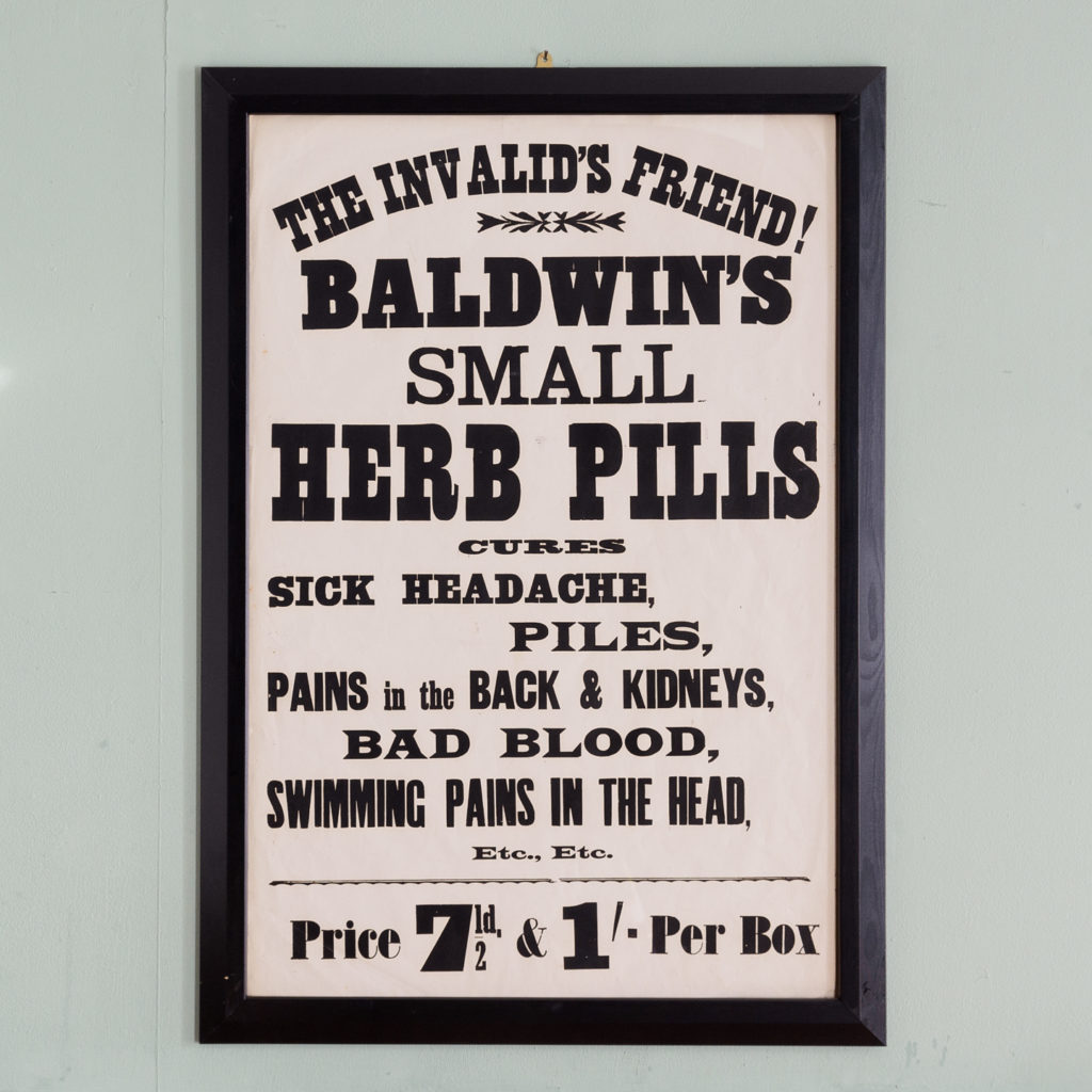 Original chemist shop advertising poster, Baldwin's Small Herb Pills-0