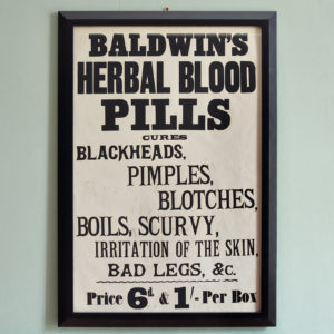 Original chemist shop advertising poster, Baldwin's Herbal Blood Pills-0