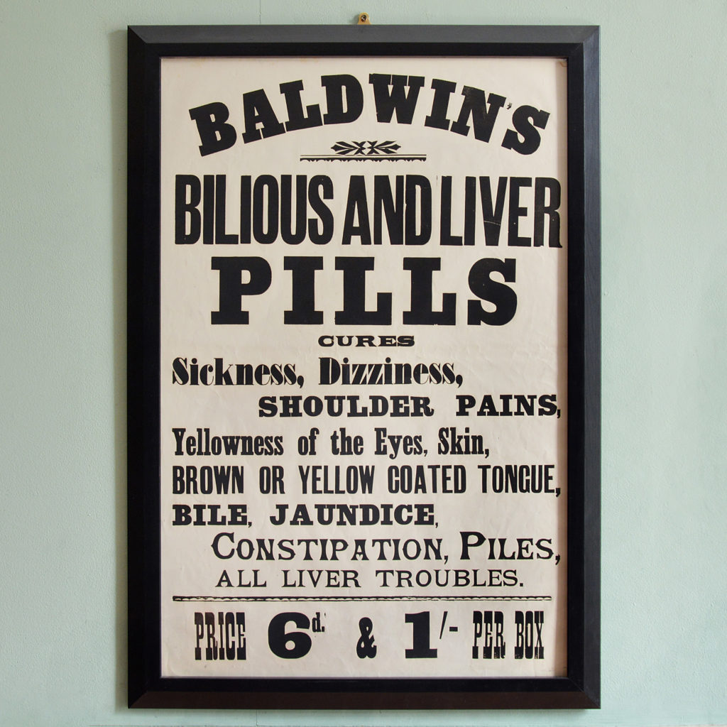 Original chemist shop advertising poster, Baldwin's Bilious and liver Pills-0