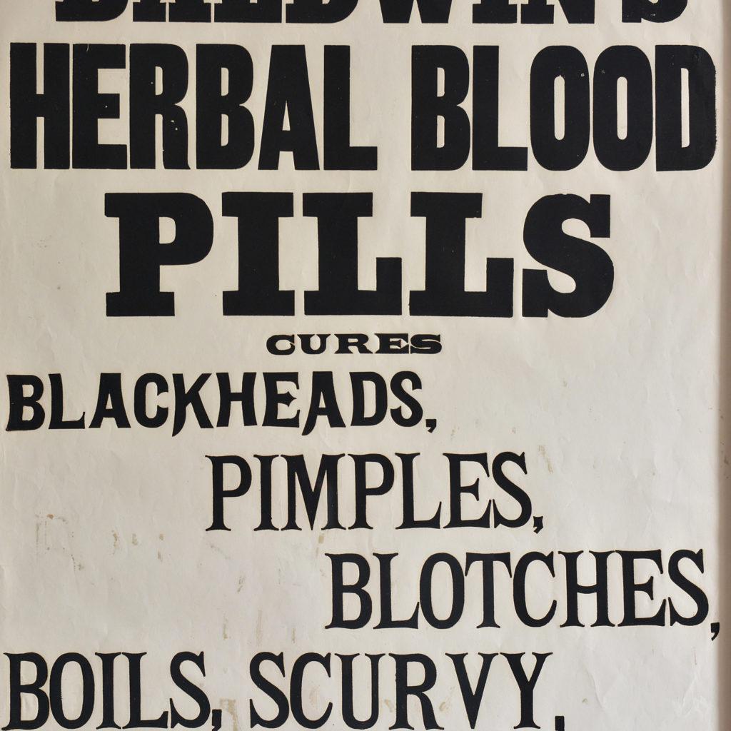 Original chemist shop advertising poster, Baldwin's Herbal Blood Pills-112522