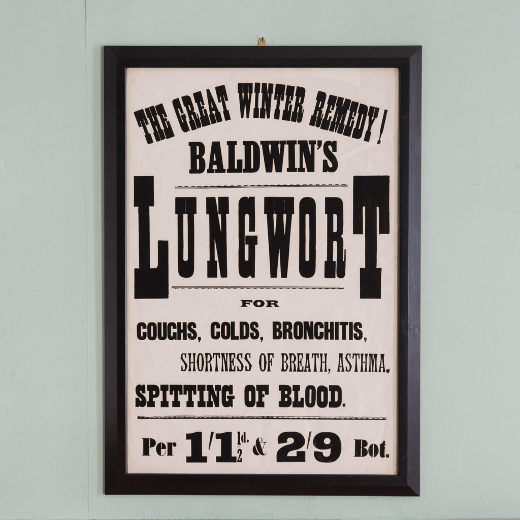 Original chemist shop advertising poster, Baldwin's Lungwort-0