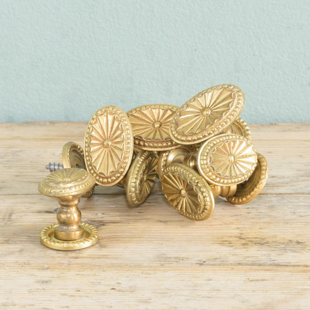 Gilt brass cupboard knobs,-0