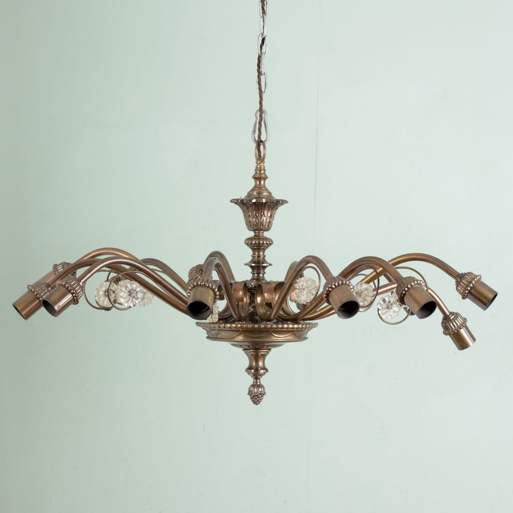Continental twelve branch bronzed chandelier,-0