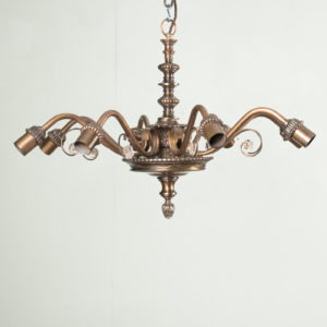 Continental eight branch bronzed chandeliers,-0