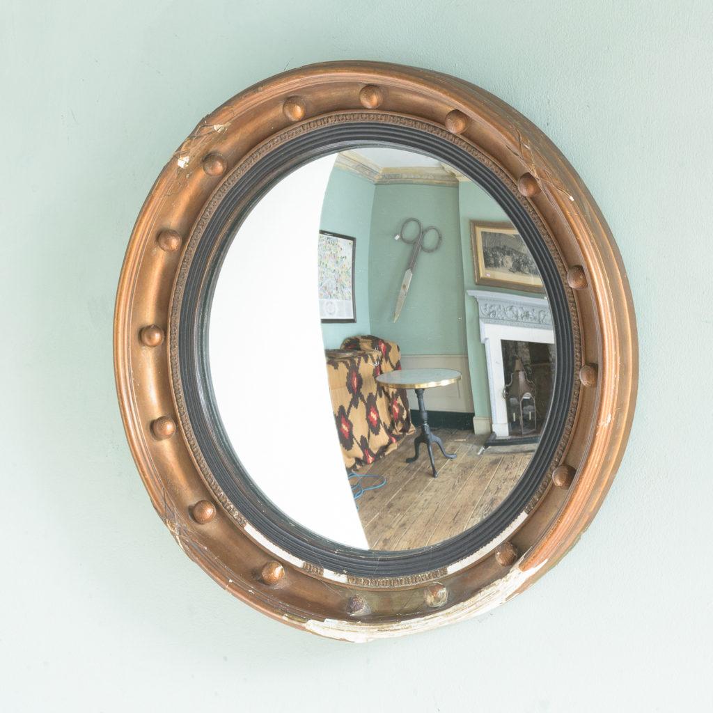 Regency style gilt convex wall mirror,-113962