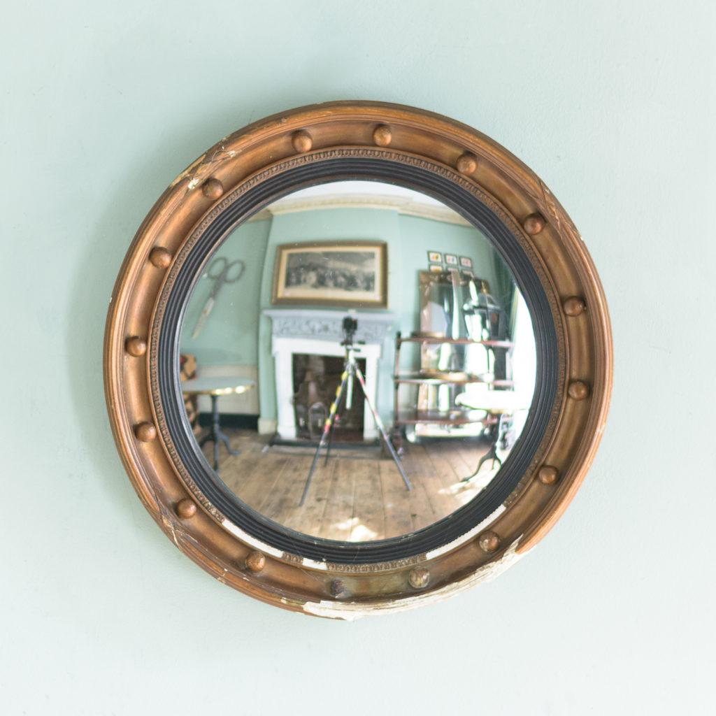 Regency style gilt convex wall mirror,-0