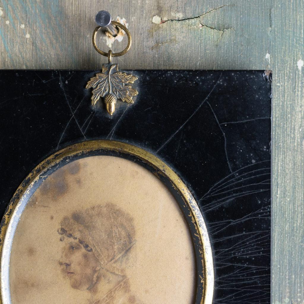 Oval portrait miniature of a lady wearing a bonnet-113209