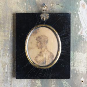 Oval portrait miniature of a lady wearing a bonnet-0