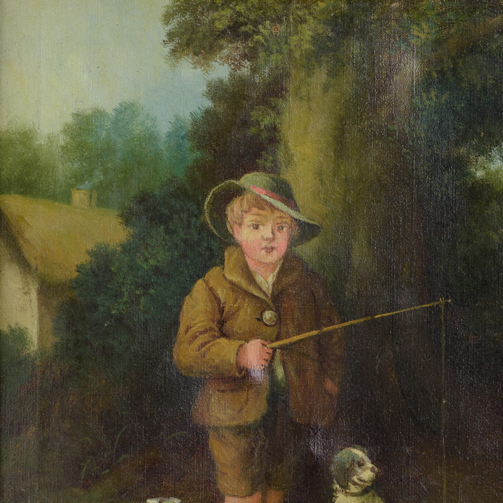 Boy with dog, oil on canvas,-114090
