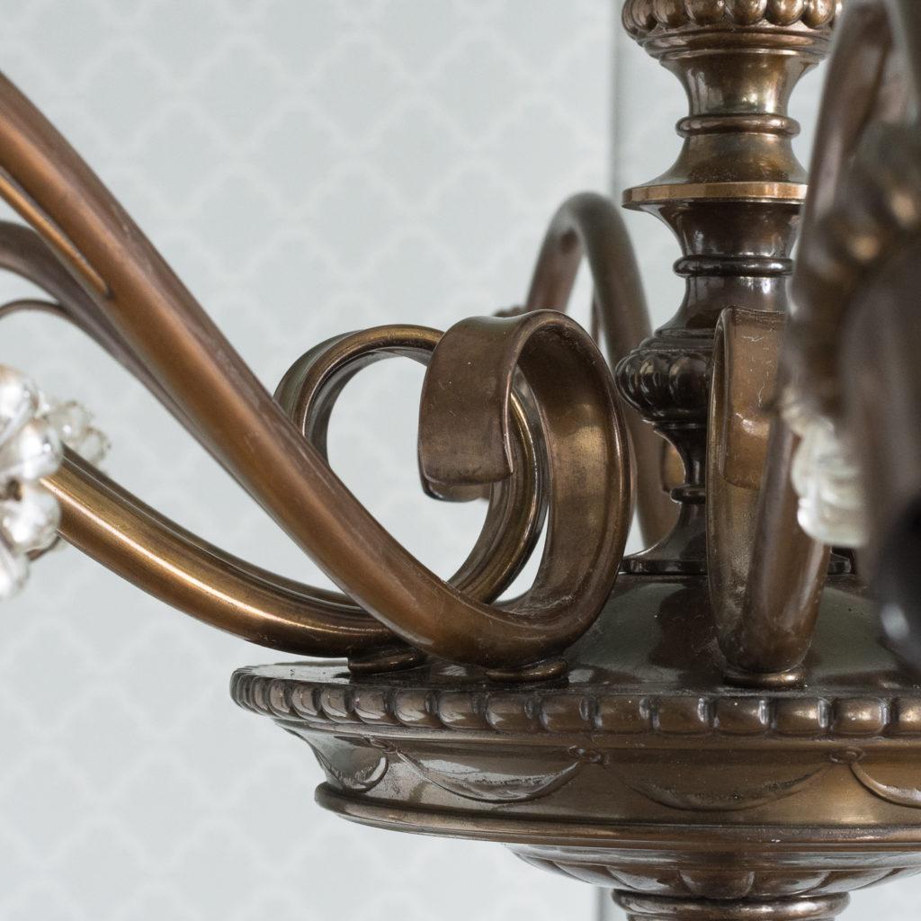 Continental bronzed ten branch chandelier,-114717