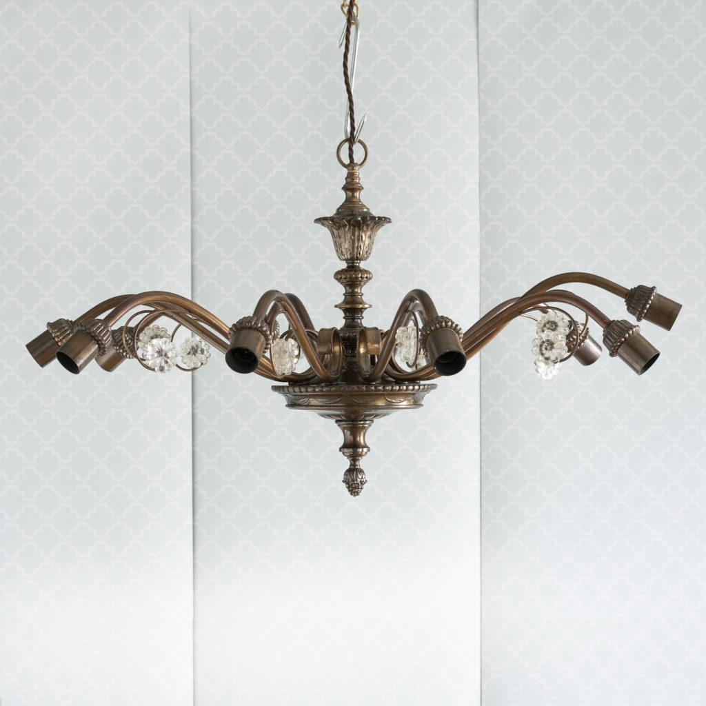 Continental bronzed ten branch chandelier,-0