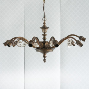 Continental bronzed ten branch chandelier,-0
