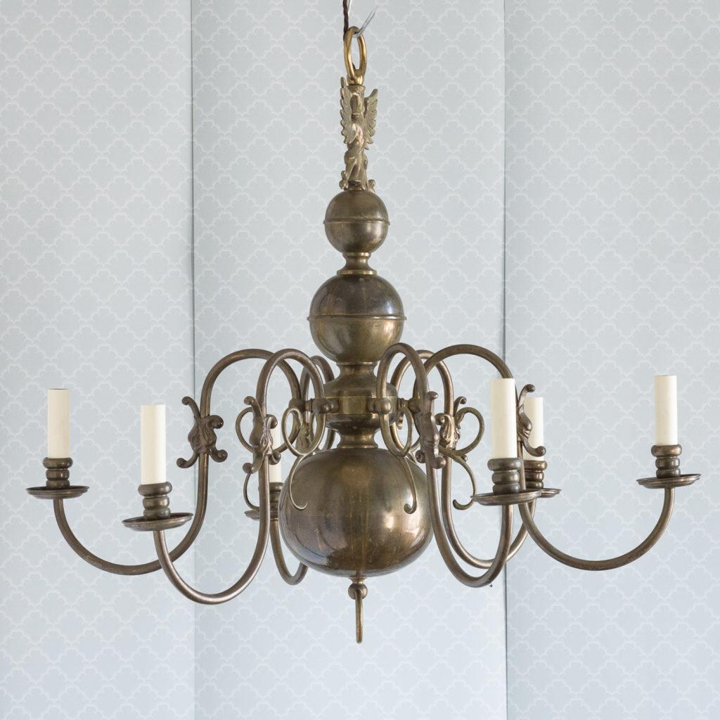 Bronzed Flemish style chandelier,-0