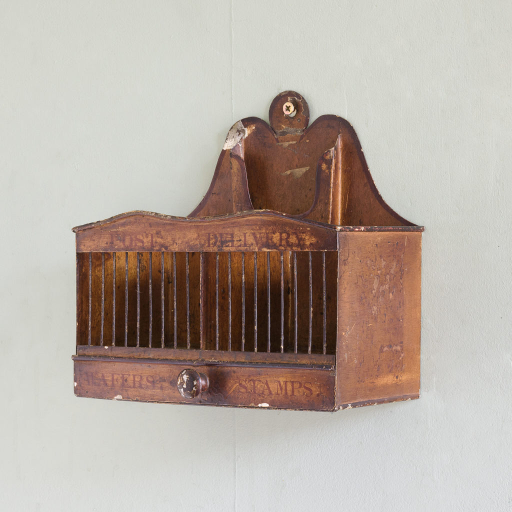 Victorian painted steel post tray,-0