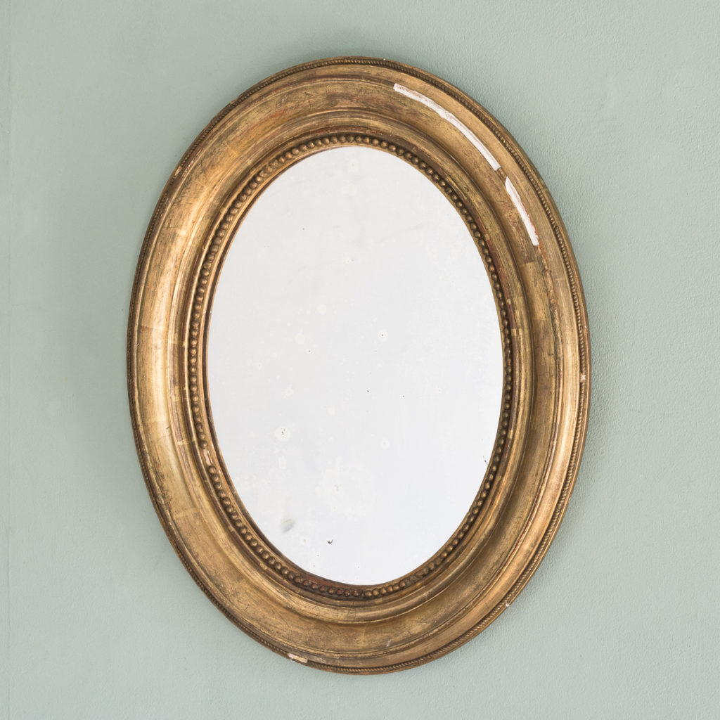 French oval gilt mirror,-114710