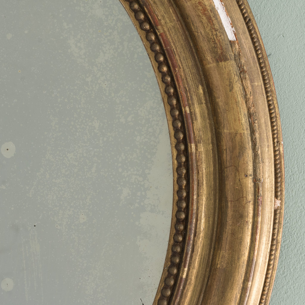 French oval gilt mirror,-114713