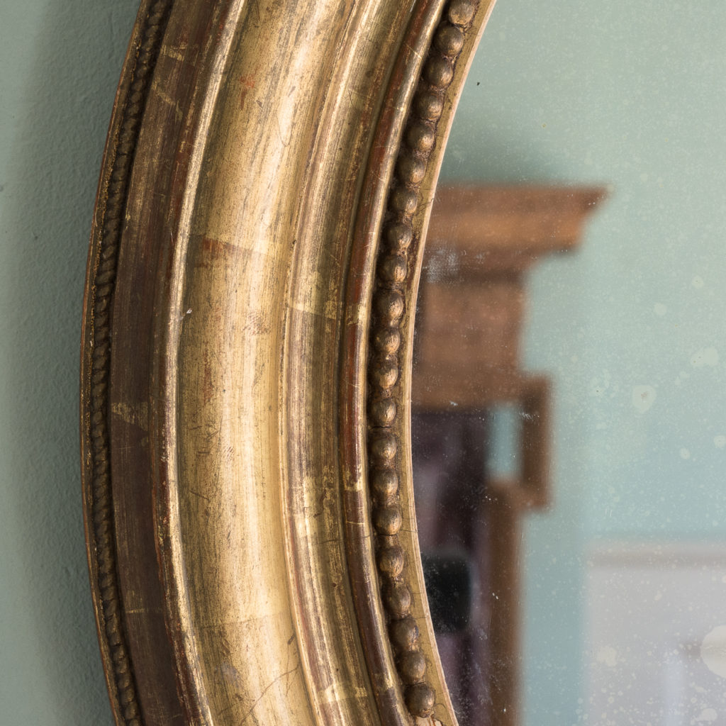 French oval gilt mirror,-114714