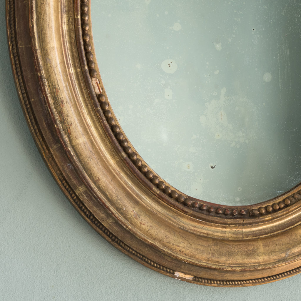 French oval gilt mirror,-114711