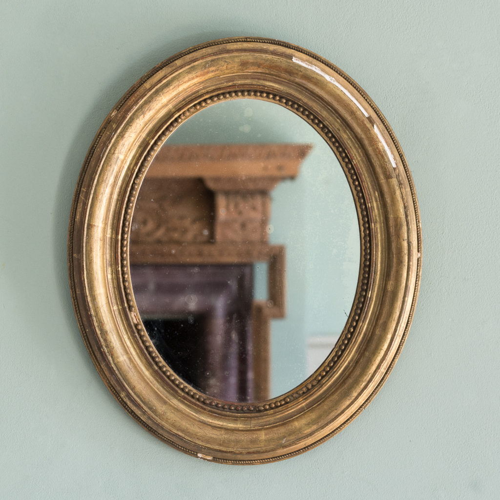 French oval gilt mirror,-0