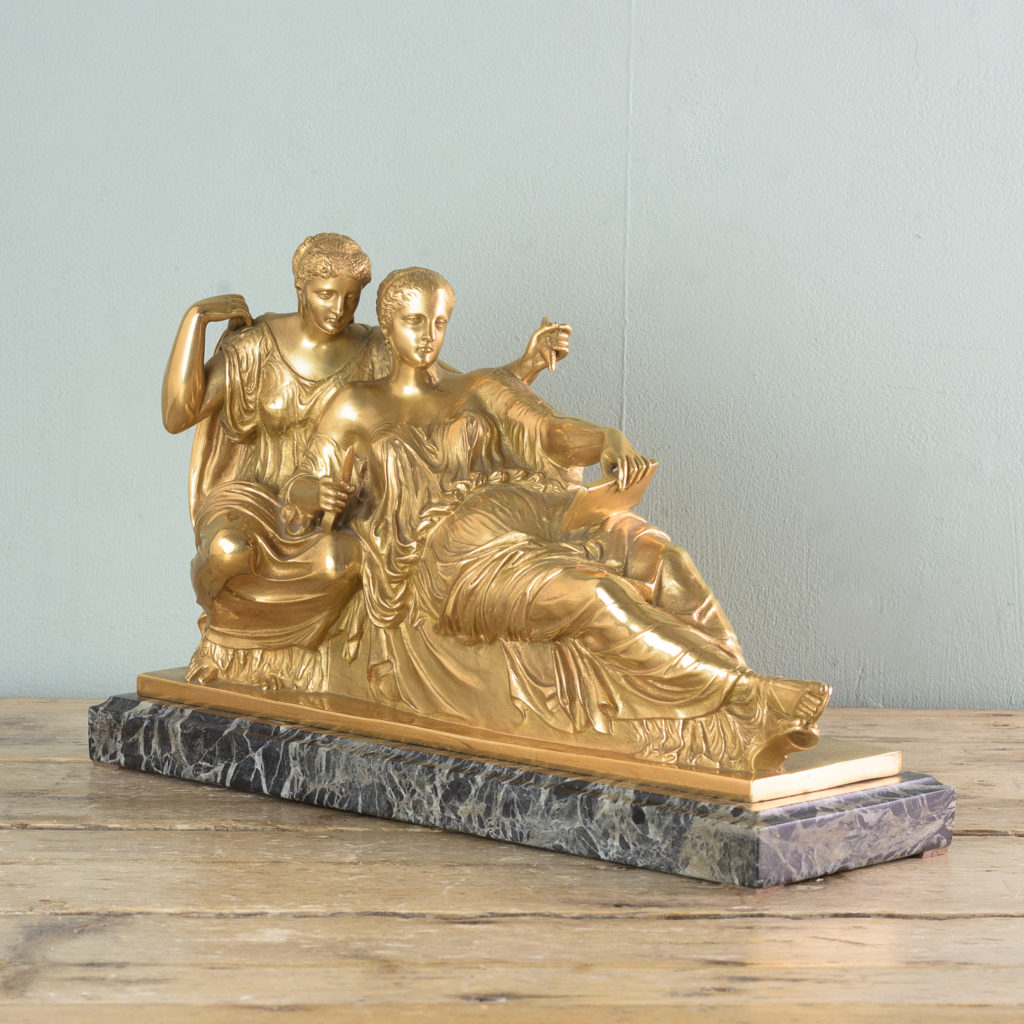 French gilt-bronze model of Les Deux Parques,-114531