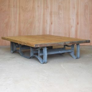 An industrial pine and steel low table-0