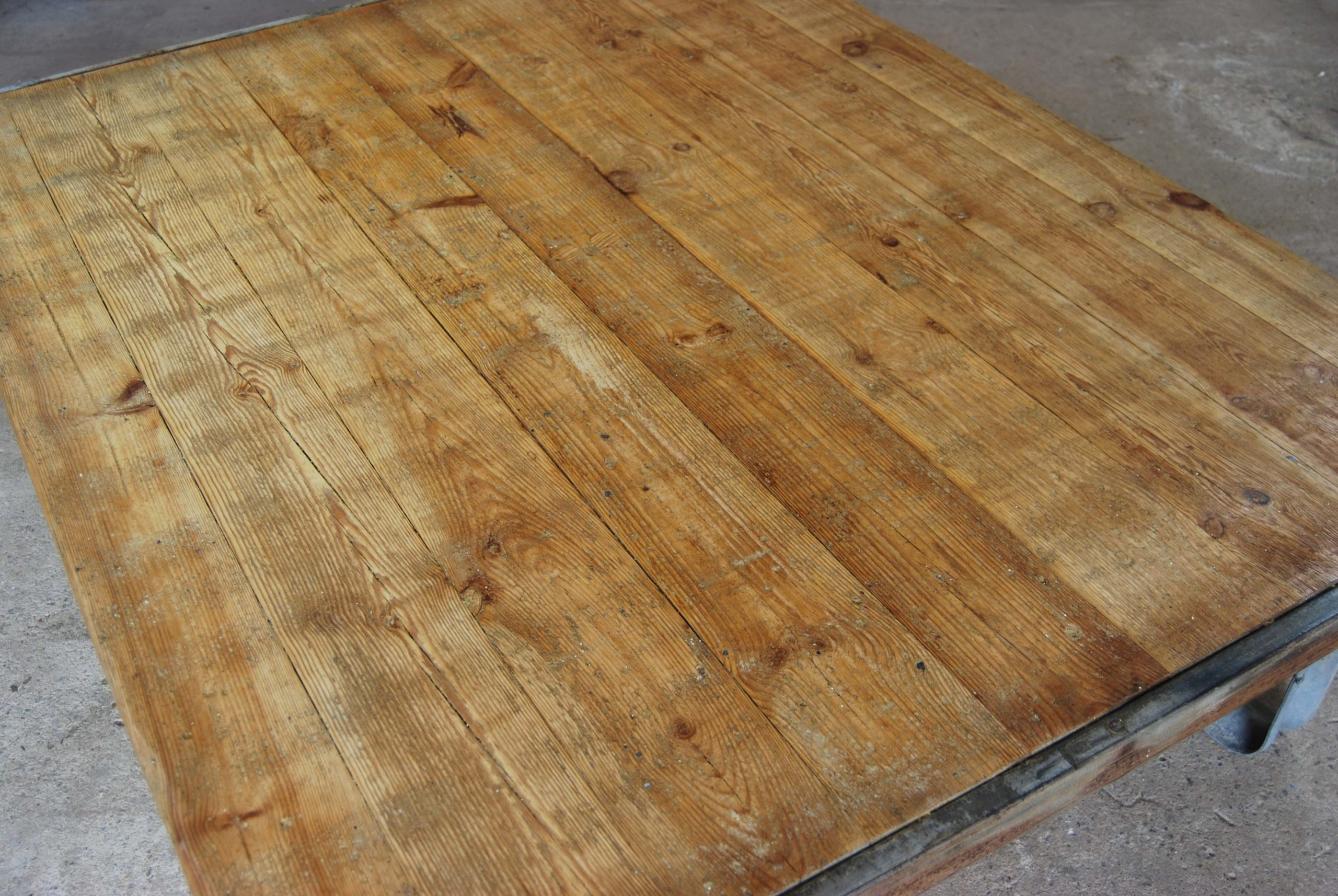 An industrial pine and steel low table-115106