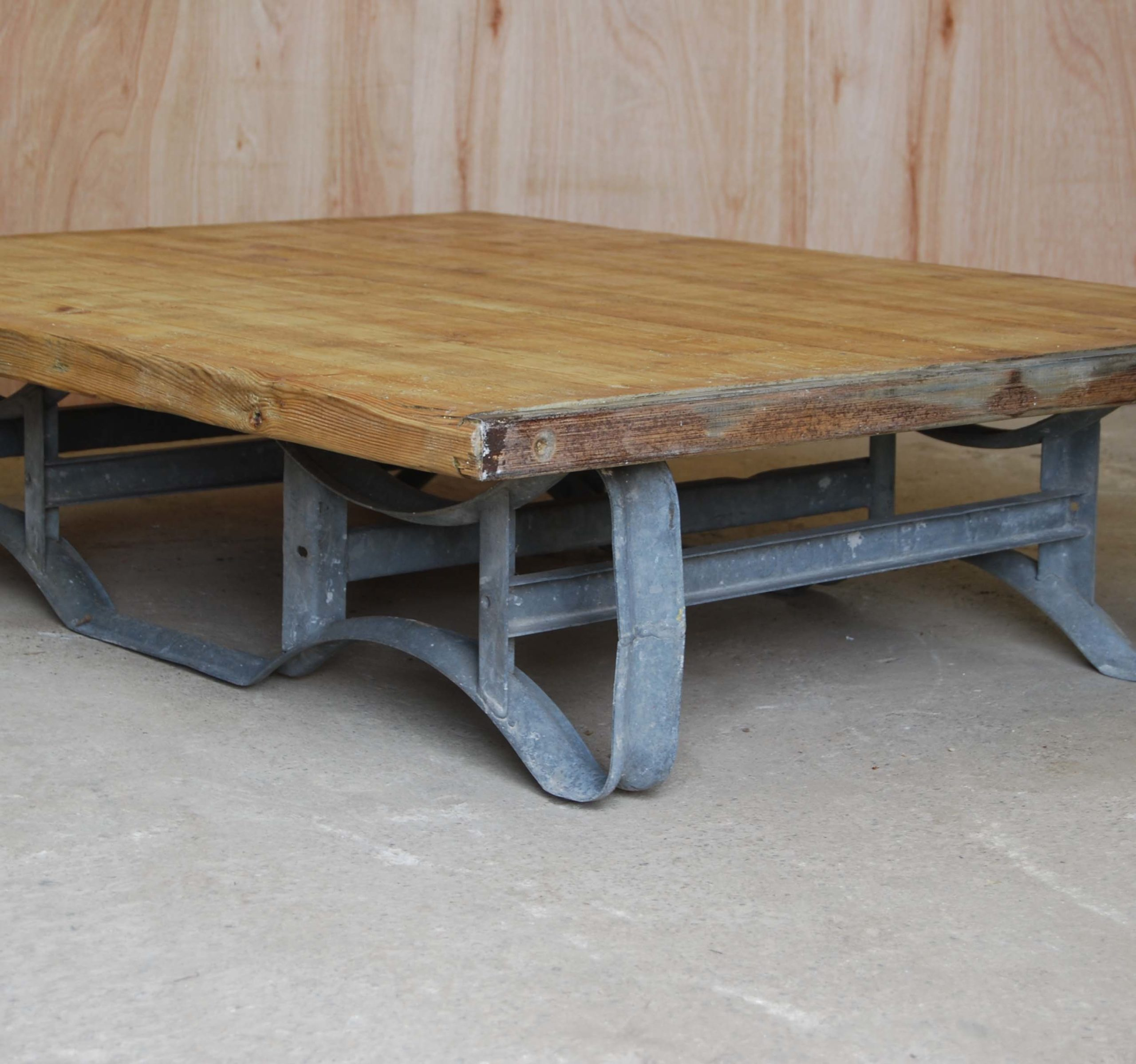 An industrial pine and steel low table-115107