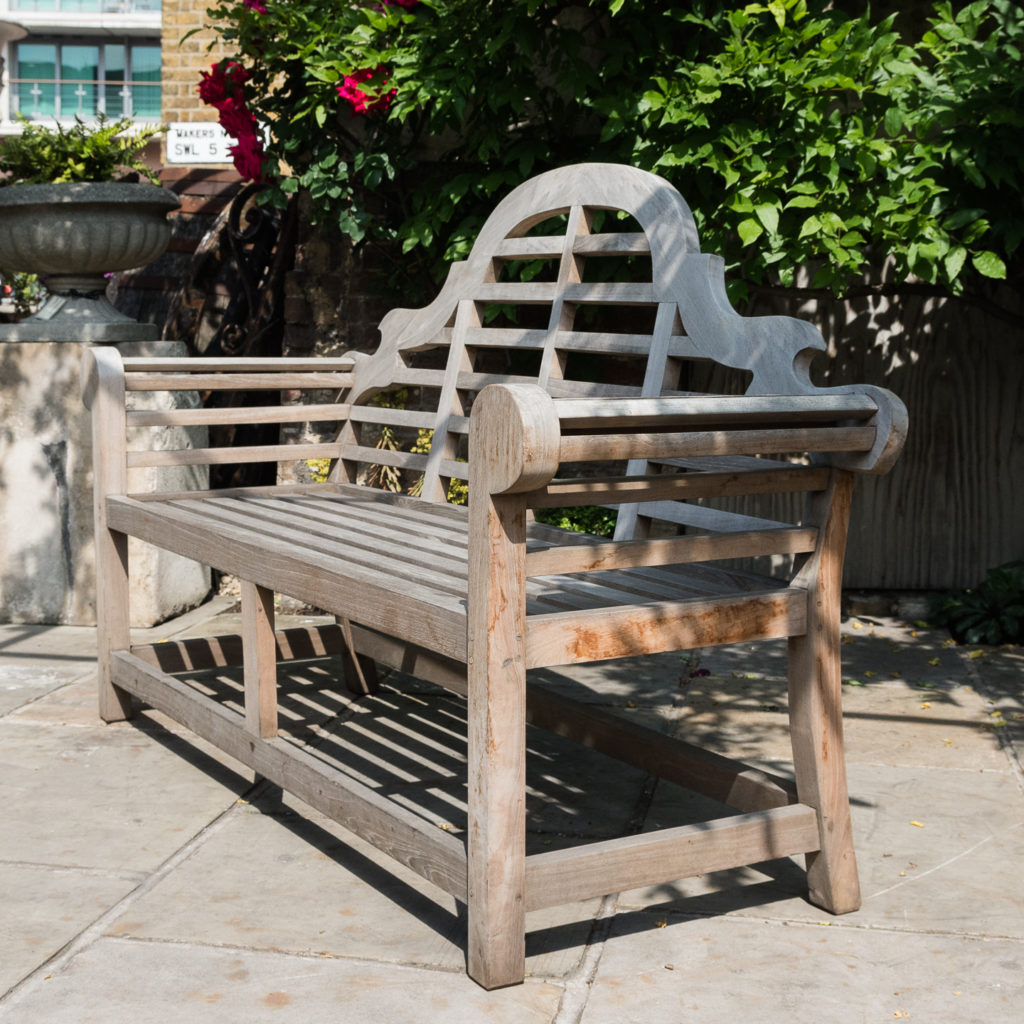Teak 'Lutyens' style garden bench,-115739