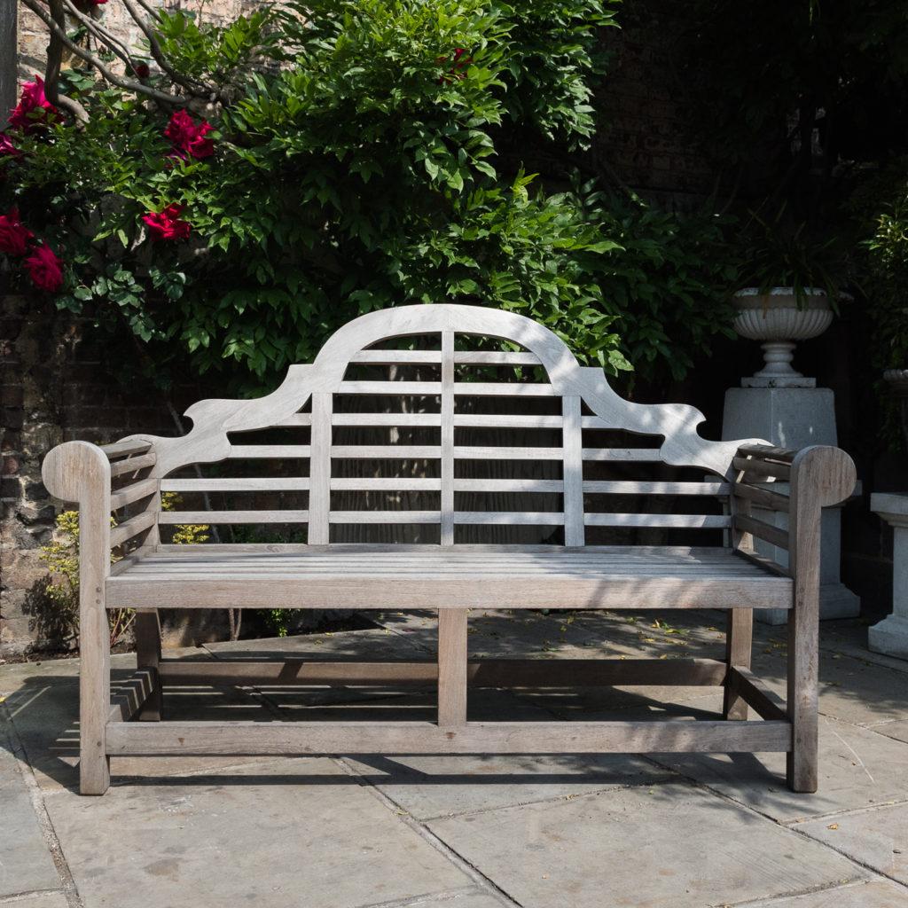 Teak 'Lutyens' style garden bench,-0