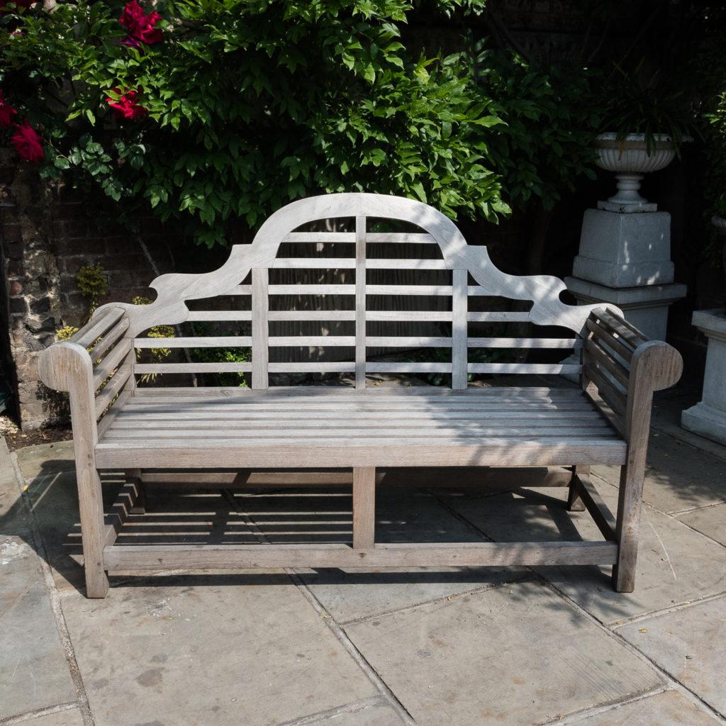 Teak 'Lutyens' style garden bench,-115742