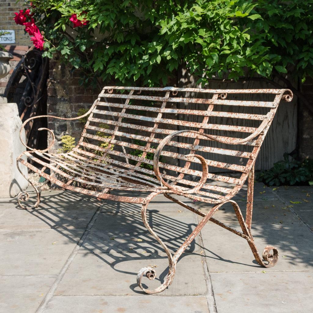 Wrought iron garden bench,-0