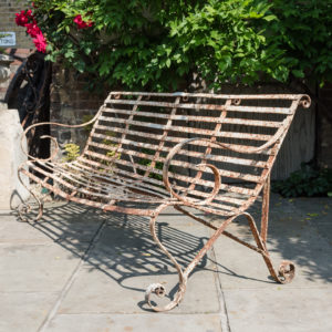 Wrought iron garden bench,-0